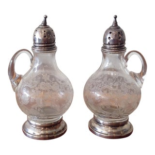 Crystal & Sterling Silver Salt Pepper Shakers - A Pair