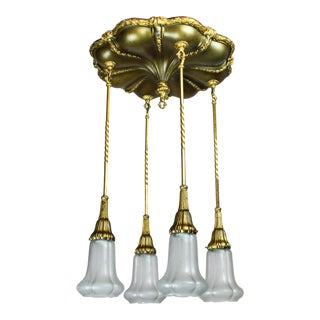 Original Gilt Sheffield Flush Mount Light Fixture (4-Light)