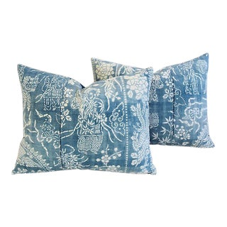 Custom Tailored Shanghai Batik Chinoiserie Feather/Down Pillows - Pair
