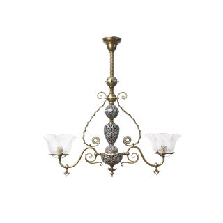 Victorian Brass & Nickel Light Fixture
