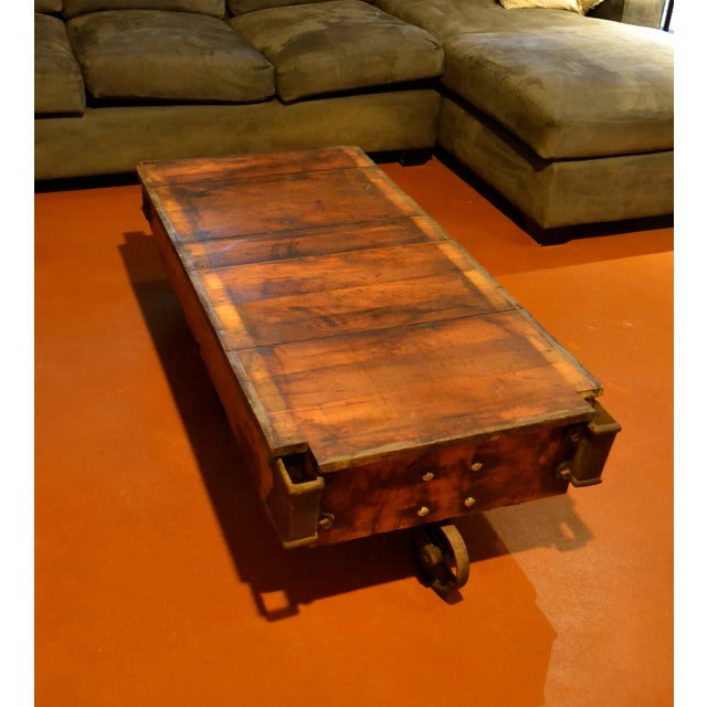 Old Industrial Cart Coffee Table: Vintage Industrial Railroad Cart Coffee Table