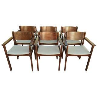 Harvey Probber Bent Mahogany Arm Chairs - Set of 6