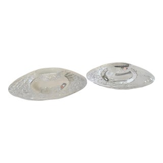 Orrefors Discus Votive Tea Light Candle Holders - Pair