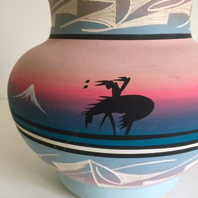 Vintage Signed Navajo Native American Pink Mesa Sunset Hand Painted Pottery Vase - Image 7 of 11