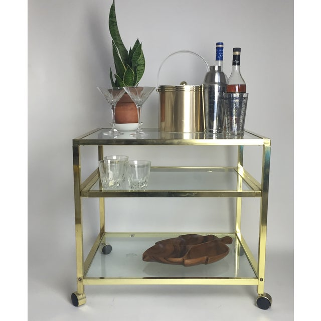 Vintage Brass & Glass End Cart Table - Image 3 of 11
