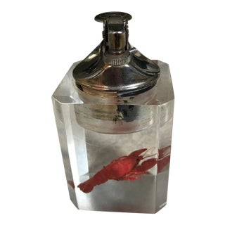 Vintage Lobster in Lucite Table Lighter