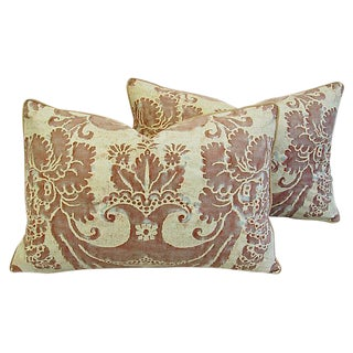 Custom Designer Italian Fortuny Glicine Feather/Down Pillows - Pair