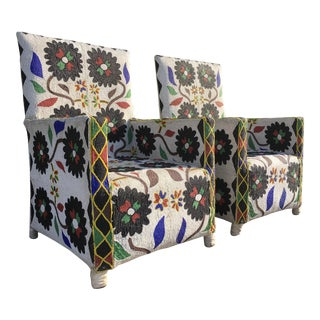 West African Beaded Tribal Armchairs - A Pair