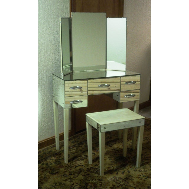 Hollywood Regency Mirrored Vanity With Bench Chairish