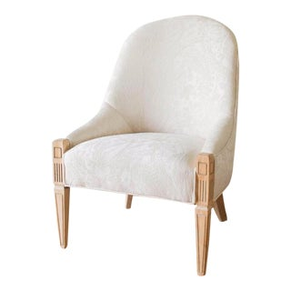 Vintage Reupholstered White Accent Slipper Chair