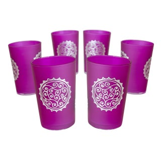 Silver & Pink Luxury Massira Tea Glasses - Set of 6