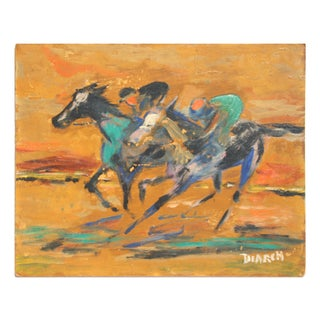Vintage Painting of Horse Race