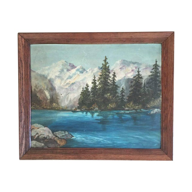 Snowy Mountain Landscape Painting - Image 1 of 3