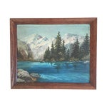 Image of Snowy Mountain Landscape Painting