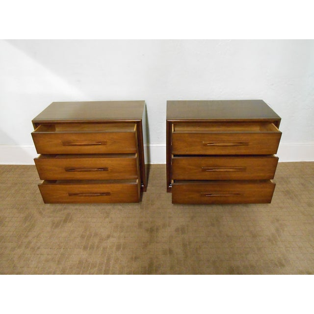 Mid Century Modern Walnut Bachelors Chests - Pair - Image 2 of 10