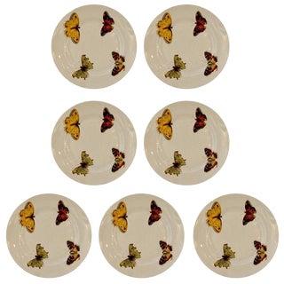 "Set of Seven Vintage L. Bernardaud Porcelain ""Butterfly"" Pattern Canape Plates"