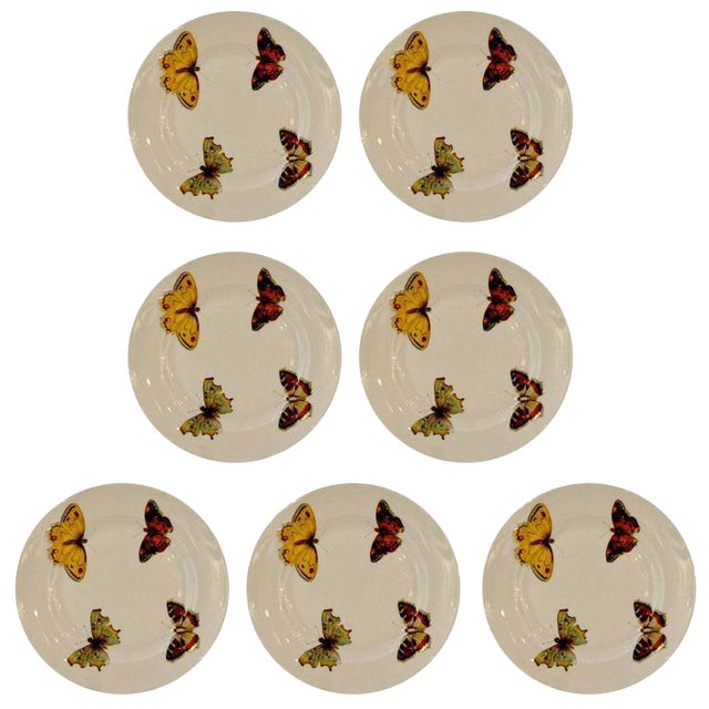 "Set of Seven Vintage L. Bernardaud Porcelain ""Butterfly"" Pattern Canape Plates - Image 1 of 5"