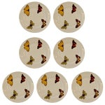 "Image of Set of Seven Vintage L. Bernardaud Porcelain ""Butterfly"" Pattern Canape Plates"
