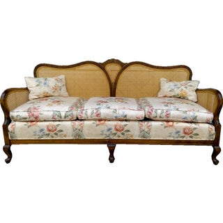 French Country Cane Back Sofa Floral Upholstery