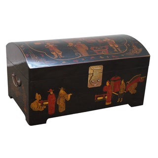 Asian Dome Top Chinoiserie Painted Accent Chest
