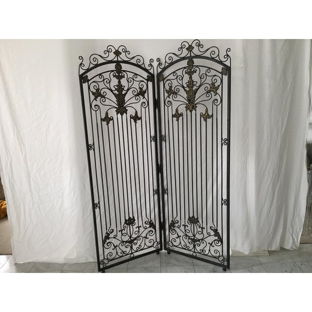 Ornate Heavy Iron Folding Screen - Image 4 of 7