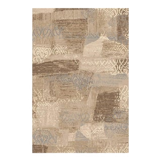 "Transitional Brown Blue Faded Damask Rug - 6'7"" X 9'7"""