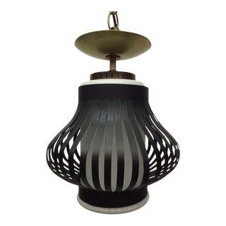 Ribbed Black Pendant Light