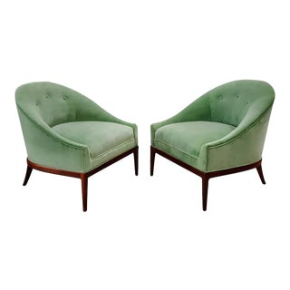 Mid-Century Celadon Green Velvet Slipper Chairs - A Pair