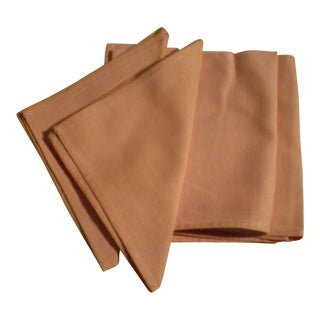 Vintage Salmon Pink Linen Napkins - Set of 4