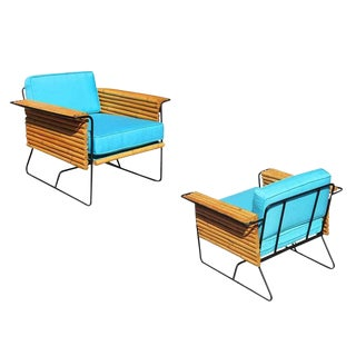 Restored Pair of Wrought Iron and Rattan Ski Club Chairs by Shirley Ritts