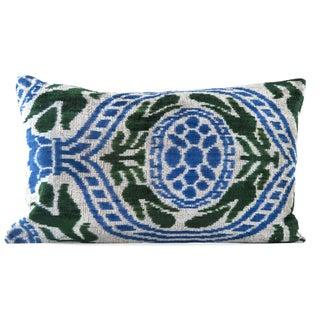 """Silk Velvet Blue & Green Ikat Pillow - 16"""" x 24"""""""