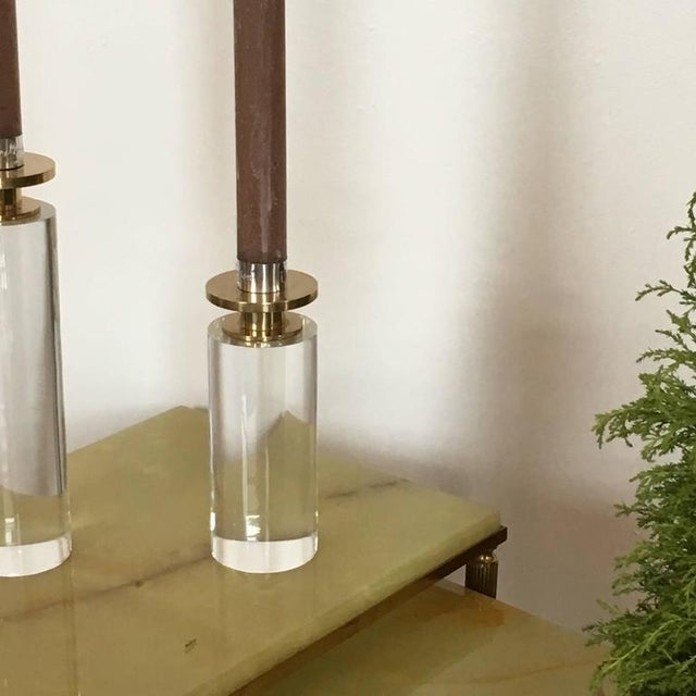 Pair of Brass and Lucite Candleholders - Image 6 of 6