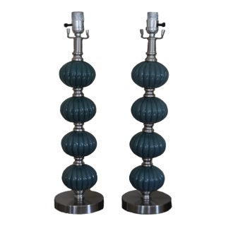 Blue Ceramic Stacked Ball Table Lamps - a Pair