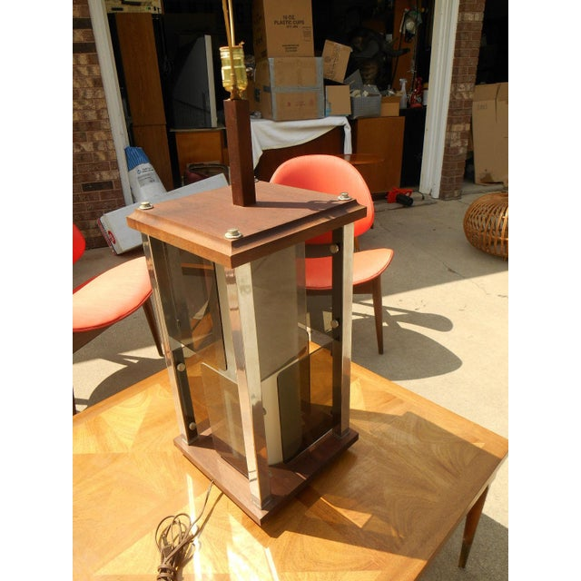 Modernist Cubist Solid Walnut & Chrome Table Lamp - Image 3 of 4