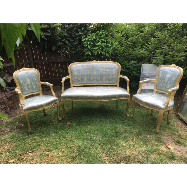 Gold Gilt Italian Louis XVI Settee & Chairs - Set of 3 - Image 9 of 9