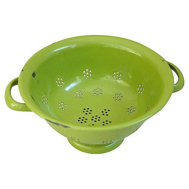 1930s Green French Porcelain Colander - Image 2 of 4