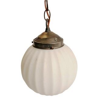 Hollywood Regency White Glass Globe Pendant