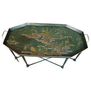 Italian Tole & Green Chinoiserie Coffee Table