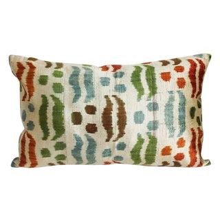 Contemporary Silk Velvet Ikat Pillow