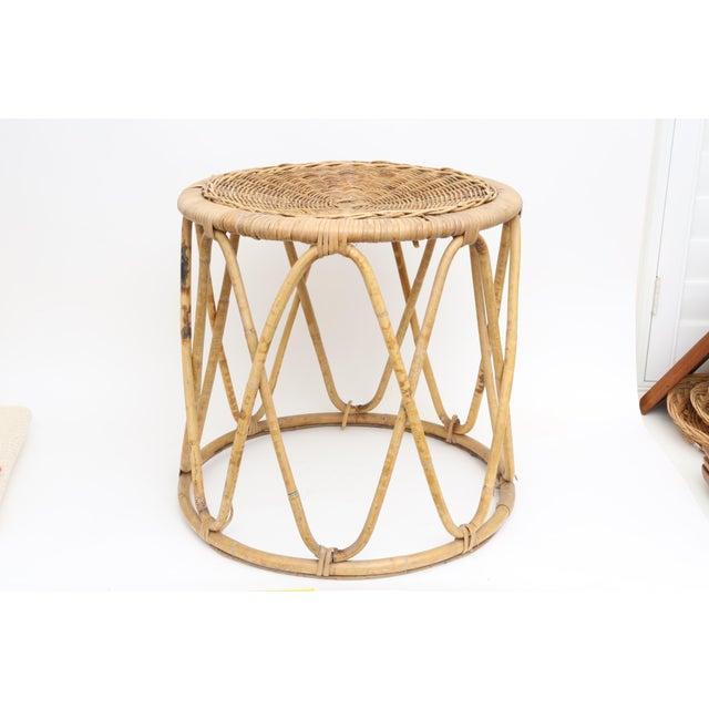 Vintage Boho Chic Bamboo & Wicker Side Table - Image 2 of 4