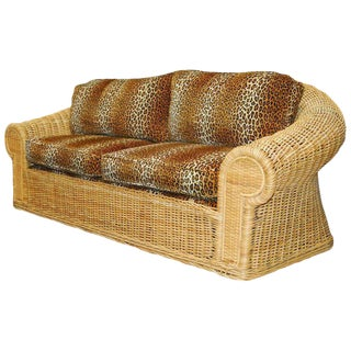 Michael Taylor Inspired Wicker Sofa Scalamandre Style Leopard Upholstery