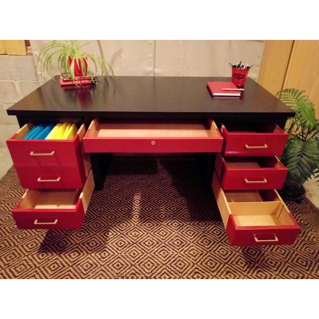 Mid-Century Black & Red Solid Wood Desk - Image 9 of 11