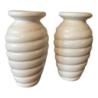 Haeger Pottery White Swirl Vases - A Pair