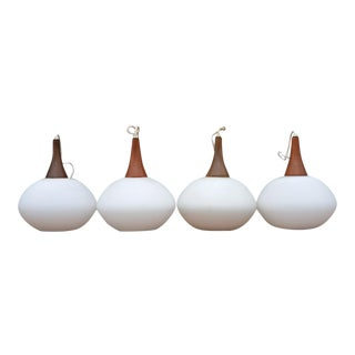 Danish Modern Italian Frosted Glass Pendants - Set of 4