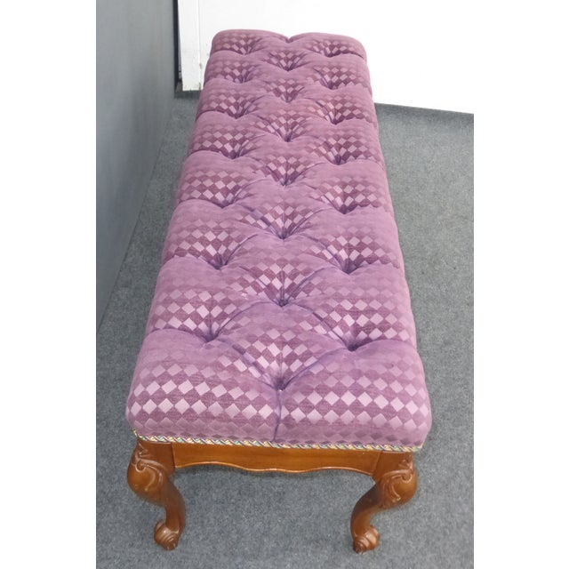 French Purple Velvet Diamond Tufted Bedside Bench - Image 6 of 8