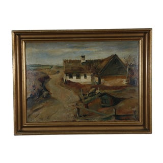 1900s Danish Country Oil Painting on Fiberboard