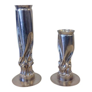 Brutalist Nickel Candle Holders by Thomas Roy Markusen - A Pair