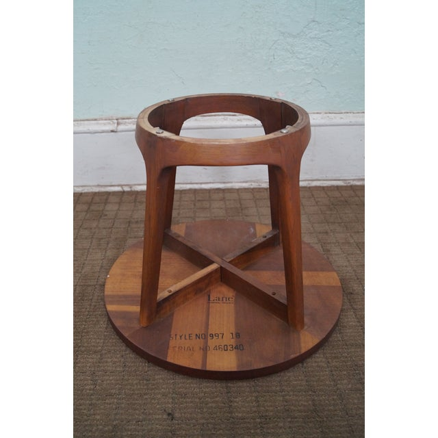 Lane Mid-Century Modern Round Walnut Side Table - Image 7 of 10