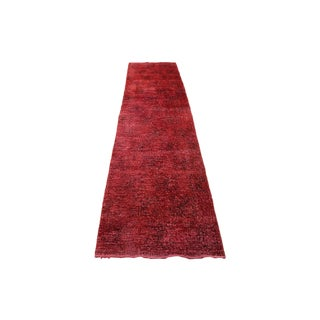 """2'6"""" X 11'2"""" Red Color Turkish Overydyed Runner"""