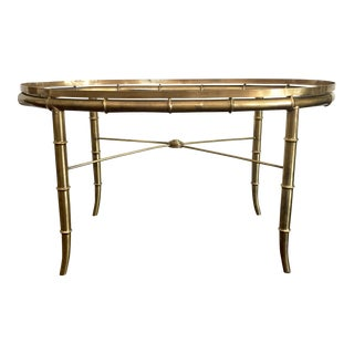 Vintage Brass Faux Bamboo Oval Glass Top Coffee Table